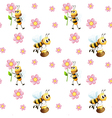 Seamless design with bees and flowers vector image vector image