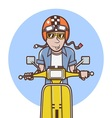 Man with orange helmet riding a yellow scooter vector image vector image