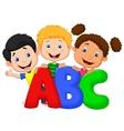 School kids cartoon with ABC vector image