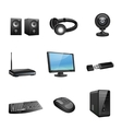 Computer accessories icons black vector image