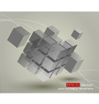 Floating 3d cube with moving segmented parts vector image vector image