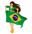 Beautiful woman fan holding Brazilian flag vector image