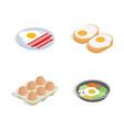 egg food icon set isometric style vector image