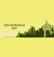 eid mubarak with mosque and green vector image