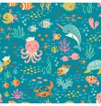 Happy underwater life pattern vector image