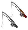 Two spinning rod with fishing line and hooks vector image