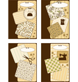 Vintage sewing elements on the background vector image