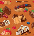 sweet desserts seamless pattern vector image