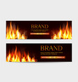 set with a burning fire on a dark vector image vector image