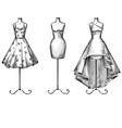 Set of mannequins in dresses vector image