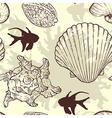 Marine seamless pattern with sea shells vector image vector image