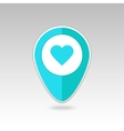 Heart pin map icon Map pointer markers vector image