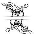bull cartoon in engraving style vector image vector image