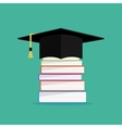 Academic books with hat on they Graduation cap vector image
