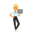 blonde woman in formal clothes stands with laptop vector image