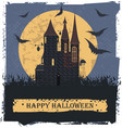 happy halloween card with stylis witch castle vector image