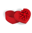 Open gift box with a red bow on a white background vector image