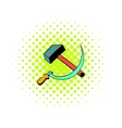 Sickle and the hammer icon comics style vector image
