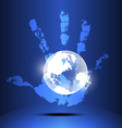 hand engulf the world vector image
