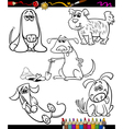 dogs set cartoon coloring book vector image