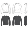 Front back and side views of blank raglan long vector image vector image