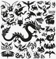 Set of black dragons vector image