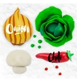 Plasticine vegetables onion vector image vector image