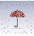 Flowers are falling on red umbrella vector image