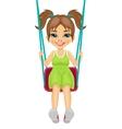 Adorable girl having fun on a swing vector image