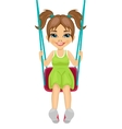Adorable girl having fun on a swing vector image