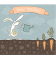 Grow together rabit vector image