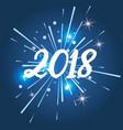 happy new year 2018 glitter lights blue background vector image