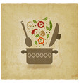 pot with vegetables vintage background vector image