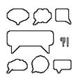 set of white pixel outline speech bubbles vector image