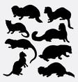 Weasel wild animal silhouette vector image