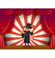 A scary witch holding a stick at the stage vector image