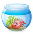 A fish inside the transparent aquarium vector image