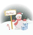 snowman happy holidays vector image