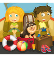 Children and dog riding in car vector image