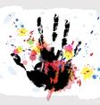 hand print on ink splatter background vector image