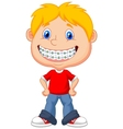 Little boy cartoon with brackets vector image