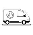 pizza car silhouette vector image