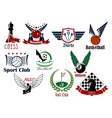 Sporting game or team emblems in retro style vector image