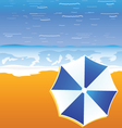umbrella blue and white color on the beach vector image
