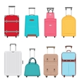 Travel bags set Color suitcase travel bag on vector image