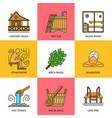 sauna theme icon set vector image