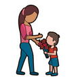 son give flowers to mother vector image