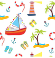 Summer sea seamless with yacht vector image vector image