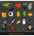 Hand drawn Halloween doodles collection set vector image vector image