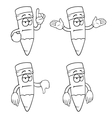 Black and white bored cartoon pencils set vector image vector image